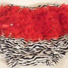 Zebra with Red Ruffle Bottom Bloomers