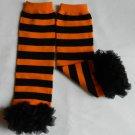 Orange and Black Striped Leg Warmers with Black Chiffon Ruffles