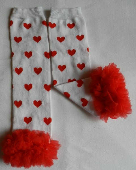 White with Red Hearts Valentines Leg Warmers with Red Chiffon Ruffles