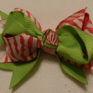"4"" watermelon zebra double knot bow"