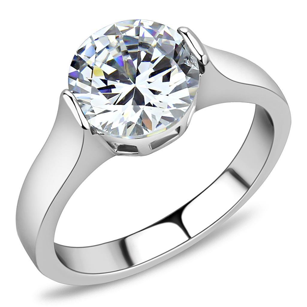 TK3432 Stainless Steel High polished Women AAA Grade CZ Solitaire Ring
