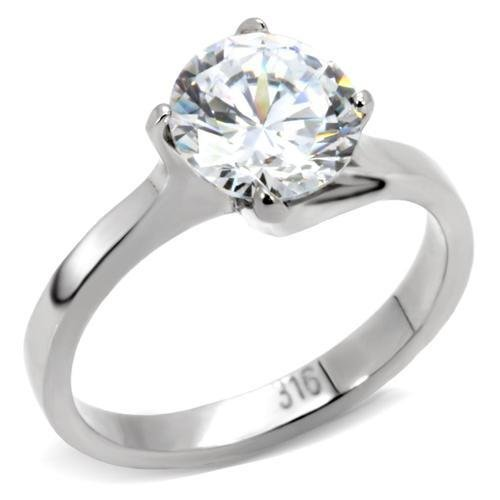 TK104 Stainless Steel High polished Women AAA Grade CZ Solitaire Ring