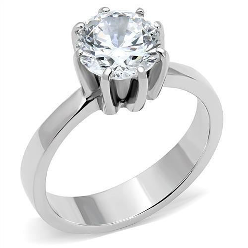 TK3208 Stainless Steel High polished Women AAA Grade CZ Solitaire Ring