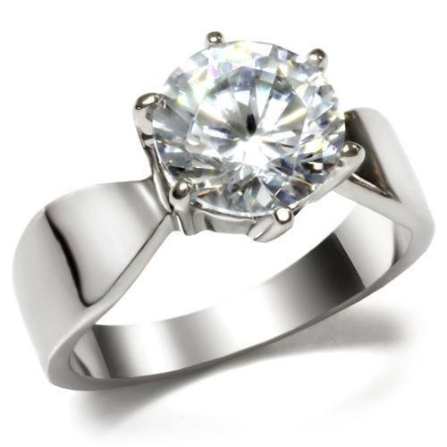 TK046 Stainless Steel High polished Women AAA Grade CZ Solitaire Ring