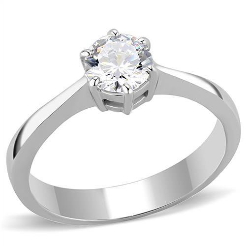 TK3252 Stainless Steel High polished Women AAA Grade CZ Solitaire Ring