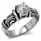 TK082 Stainless Steel High polished Women AAA Grade CZ Solitaire Ring