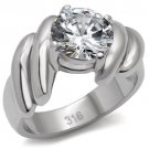 TK060 Stainless Steel High polished Women AAA Grade CZ Solitaire Ring