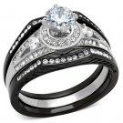 TK2044 Stainless Steel Ring Two-Tone IP Black Women AAA Grade CZ