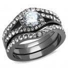TK2739 Stainless Steel IP Light Black Women AAA Grade CZ Ring