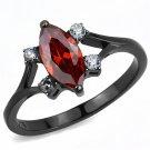 TK3445 Stainless Steel Ring IP Black Women AAA Grade CZ Garnet