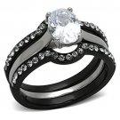 TK1344 Stainless Steel Ring Two-Tone IP Black Women AAA Grade CZ Clear