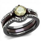 TK1346DC Stainless Steel Light Black & Dark Brown ( coffee) Women AAA Grade CZ Citrine Yellow Ring