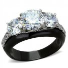 TK2021 Stainless Steel Ring Two-Tone IP Black Women AAA Grade CZ Ring