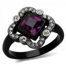TK2489 Stainless Steel Ring Two-Tone IP Black Women Top Grade Crystal Fuchsia Ring