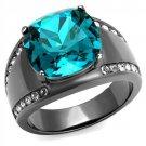 TK2678 Stainless Steel Ring IP Light Black Women Top Grade Crystal Blue Zircon