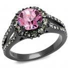 TK2680 Stainless Steel Ring IP Light Black Women Top Grade Crystal Light Rose