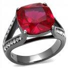 TK2760 Stainless Steel Ring IP Light Black Women Ruby