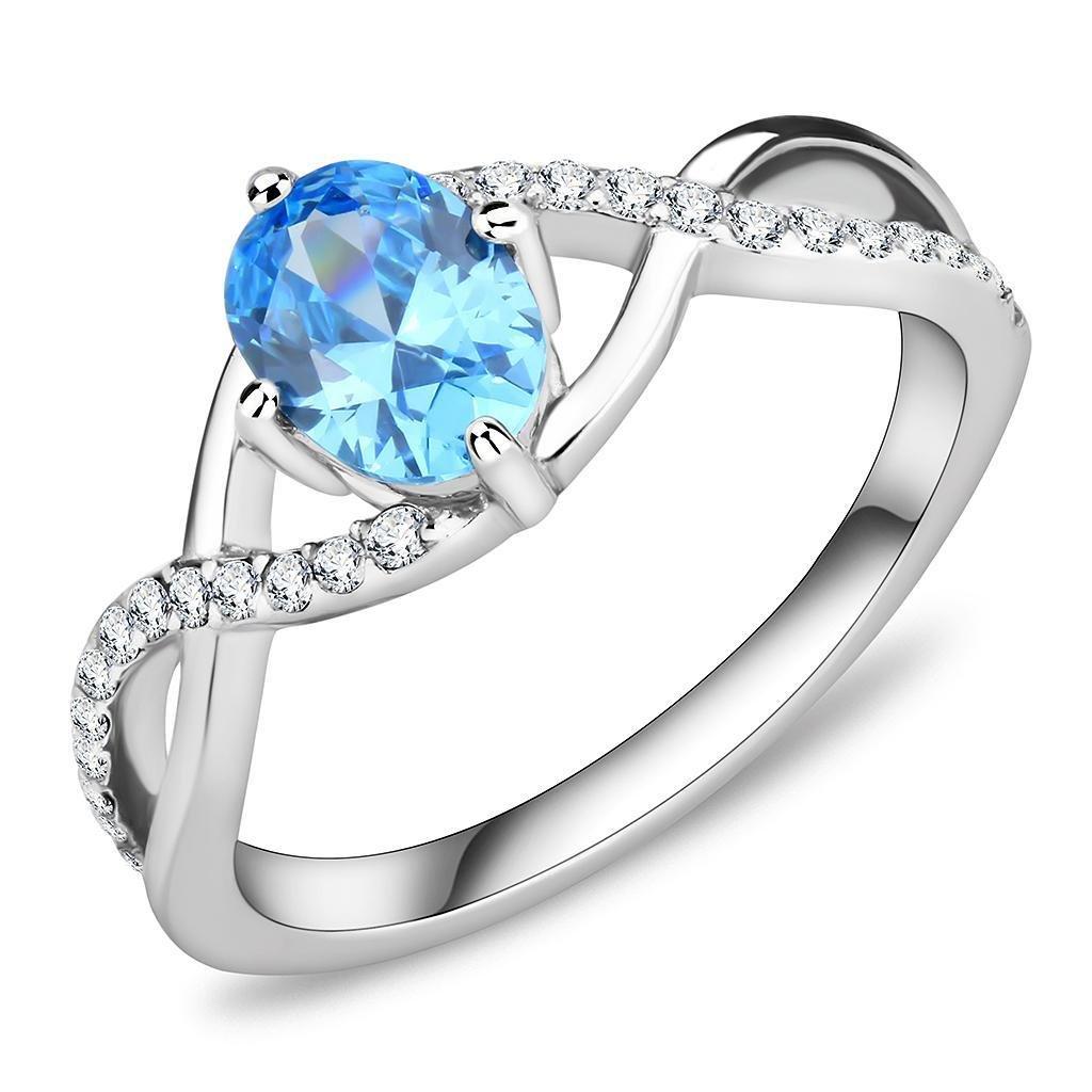 DA117 Stainless Steel Ring High polished Women AAA Grade CZ Sea Blue
