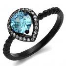 TK2364 Stainless Steel Ring IP Black Women AAA Grade CZ Sea Blue