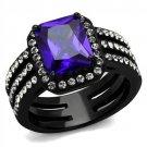 TK2486 Stainless Steel Ring IP Black Women AAA Grade CZ Tanzanite