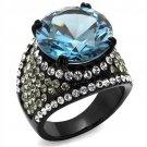 TK2555 Stainless Steel Ring Black Women AAA Grade CZ London Blue