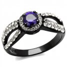 TK2653 Stainless Steel Ring Two-Tone IP Black Women AAA Grade CZ Tanzanite