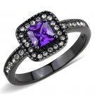TK3450 Stainless Steel Ring IP Black Women AAA Grade CZ Tanzanite