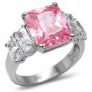 TK088 Stainless Steel Ring High polished Women AAA Grade CZ Rose