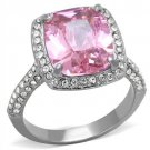 TK2027 Stainless Steel Ring High polished Women AAA Grade CZ Rose