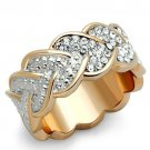 TK1691 Stainless Steel Ring Two-Tone IP Rose Gold Women Top Grade Crystal Heart Eternity Ring