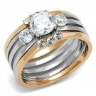 TK3212 Stainless Steel Ring Two-Tone IP Rose Gold Women AAA Grade CZ