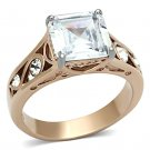 TK1059 Stainless Steel Ring Two-Tone IP Rose Gold Women AAA Grade CZ Clear