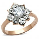 TK1168 Stainless Steel Ring Two-Tone IP Rose Gold Women AAA Grade CZ Clear