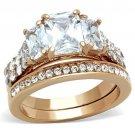 TK1690 Stainless Steel Ring IP Rose GoldWomen AAA Grade CZ Clear
