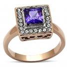 TK1162 Stainless Steel Two-Tone IP Rose Gold Women AAA Grade CZ Tanzanite Ring