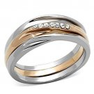 TK1340 Stainless Steel Two-Tone IP Rose Gold Women Top Grade Crystal Ring
