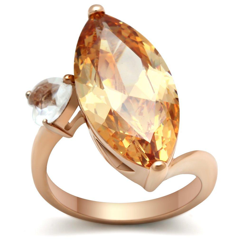 GL145 Brass IP Rose Gold Women AAA Grade CZ Champagne Ring