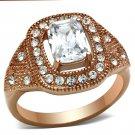 GL215 Brass IP Rose Gold Women AAA Grade CZ Ring