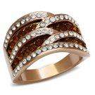 GL217 Brass IP Rose Gold Women Top Grade Crystal Smoked Quartz Ring
