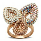 GL219 Brass IP Rose Gold Women Top Grade Crystal Multi Color Ring