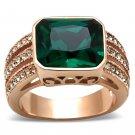 GL240 Brass Rose Gold(Ion Plating) Women Blue Zircon Ring