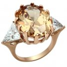 GL243 Brass IP Rose Gold Women AAA Grade CZ Champagne Ring