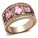 GL244 Brass Ring IP Rose Gold Women AAA Grade CZ Rose Ring