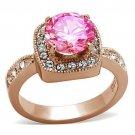 LOA1149 Brass IP Rose Gold Women AAA Grade CZ Light Rose Ring