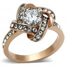 TK1166 Stainless Steel Two-Tone IP Rose Gold Women AAA Grade CZ RingClear