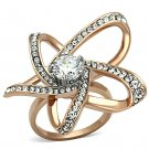 TK1170 Stainless Steel Two-Tone IP Rose Gold Women AAA Grade CZ Ring
