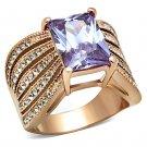 TK1490 Stainless Steel IP Rose Gold Women AAA Grade CZ Light Amethyst Ring