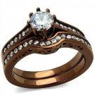 TK1330LC Stainless Steel IP Coffee light Women AAA Grade CZ Ring