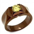 TK2773 Stainless Steel IP Coffee light Women AAA Grade CZ Topaz Ring