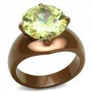 TK2839 -  Wholesale Stainless Steel Ring IP Coffee light Women AAA Grade CZ Apple Green color